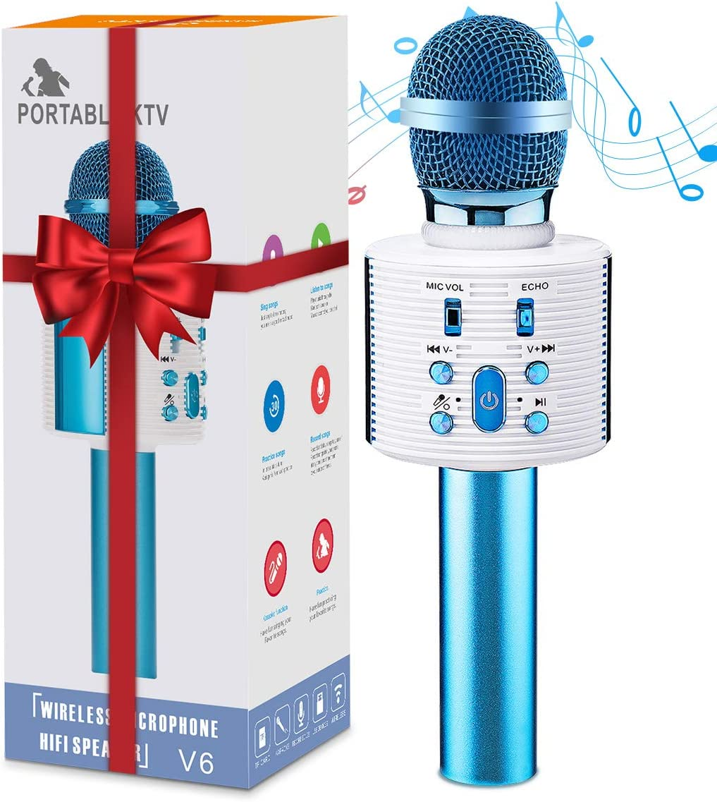 Wireless Bluetooth Karaoke Microphone, Portable Karaoke Machine with Magic Sound, 4 in 1 Bluetooth Karaoke Microphone Home Party Karaoke Speaker Machine for 3-12 Year Old Boys Girls