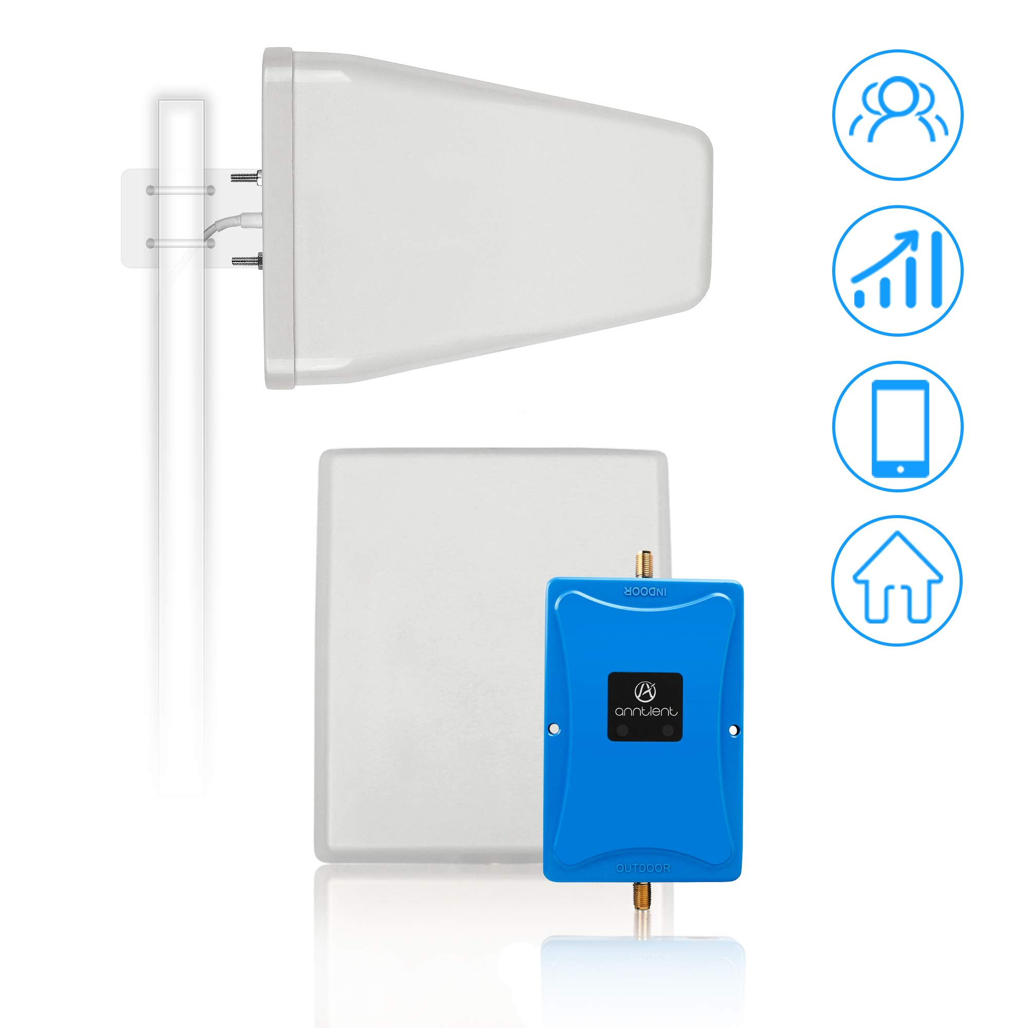 Cell Phone Signal Booster for Verizon AT&T T-Mobile 4G LTE - Dual 700MHz Band 12/13/17 Cellular Repeater Amplifier Kit Boosts Voice & Data Signal for Home and Office Up to 4,000Sq Ft Area