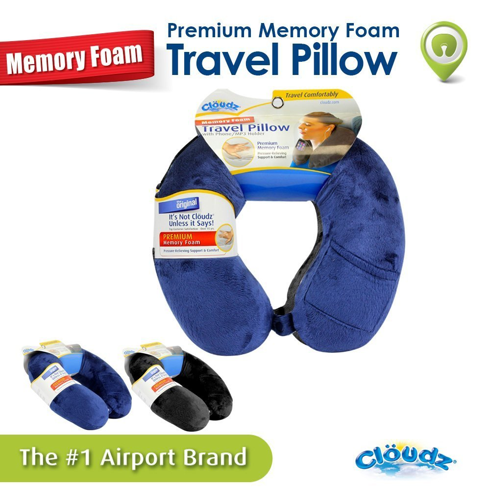 Cloudz Memory Foam Travel Neck Pillow With Snap Pocket Blue