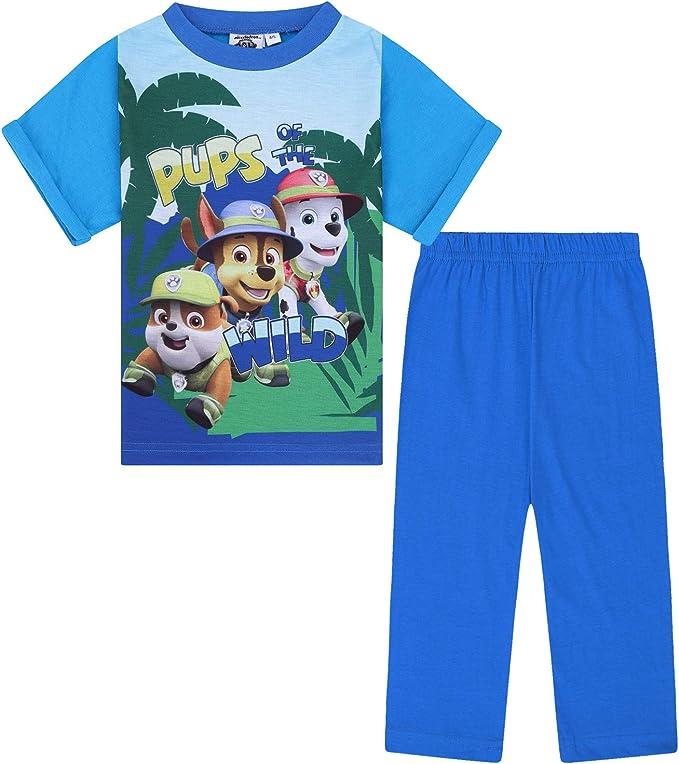Blue Short Sleeve Summer Pyjamas PJs Boys Kids Official Paw Patrol Navy