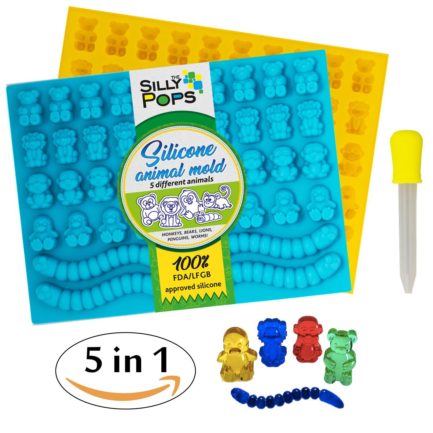 Gummy Bear Mold Bpa Free Silicone (Yellow, Blue) - Set of 2 for 86 Candies - 5 Different Types of Animals - Dropper Included - Candy Molds, Gummy Worm Mold, Chocolate Molds, Gelatin Molds, Ice Cube by The Silly Pops