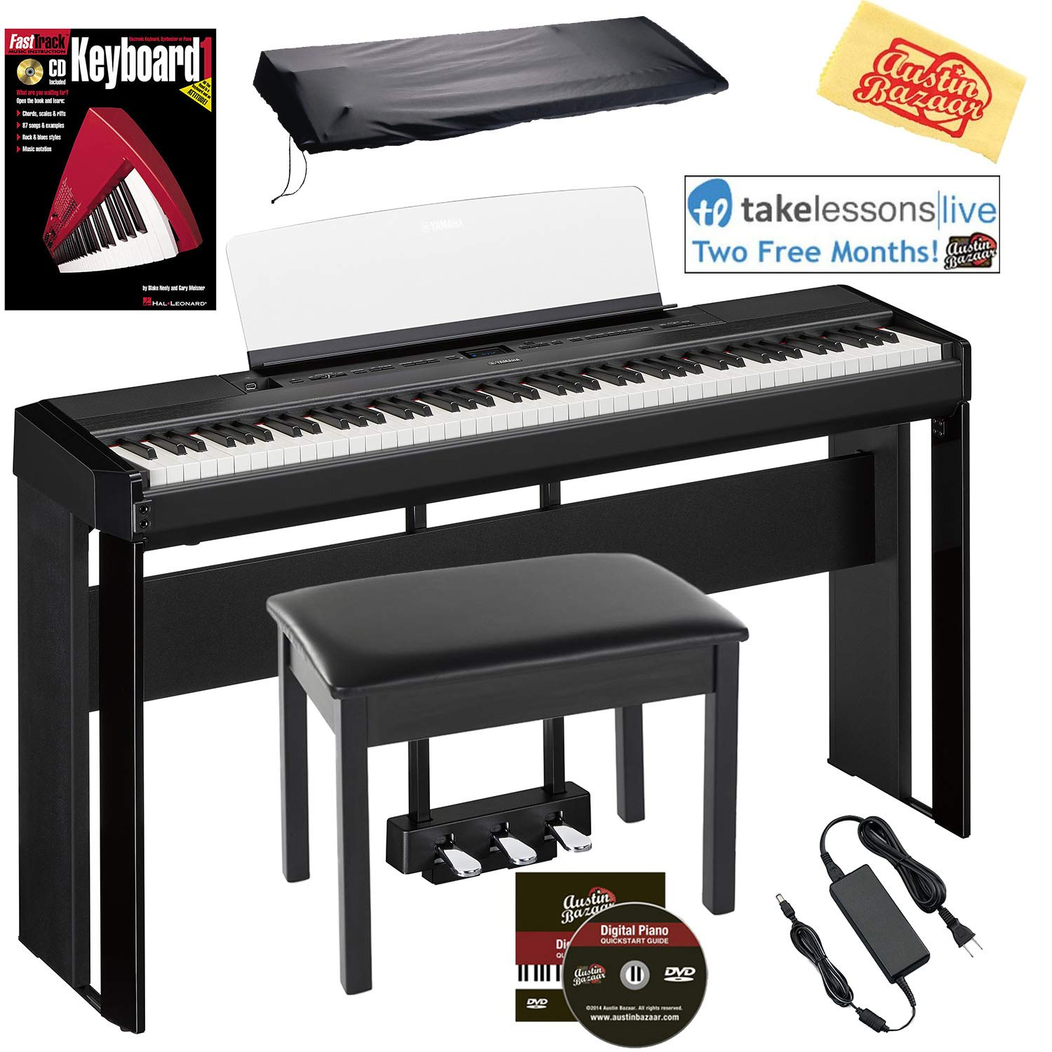 Yamaha P-515 88-Key Digital Piano - Black Bundle with Yamaha L-515 Stand, LP-1 Pedal, Furniture Bench, Dust Cover, Instructional Book, Online Lessons, Austin Bazaar Instructional DVD, and Polish Cloth by Yamaha