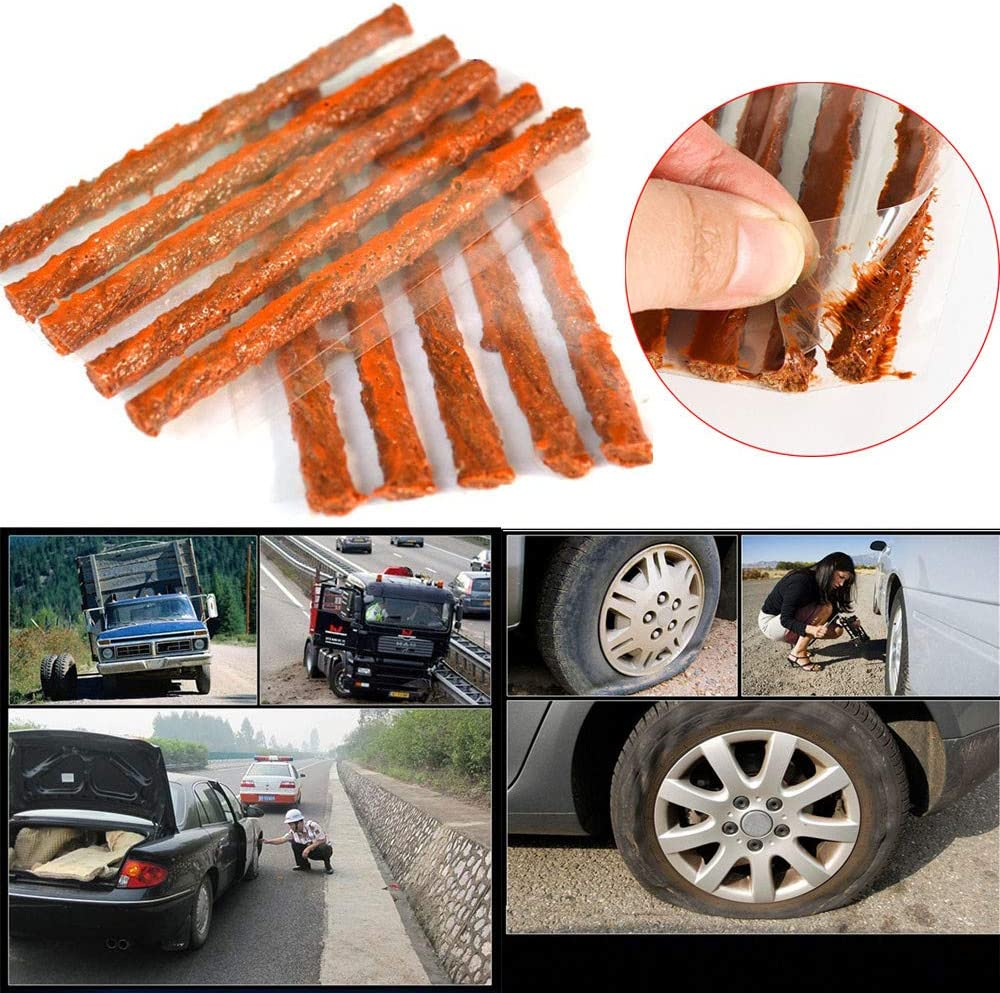 Brown Heavy Duty Tire Flat Tire Puncture Repair Plug 10pcs Car Tyre Tubeless Seal Strip Plug Tire Puncture Repair Recovery Kit Tire Repair String Rubber Strips Fashion Tire Repair Plugs