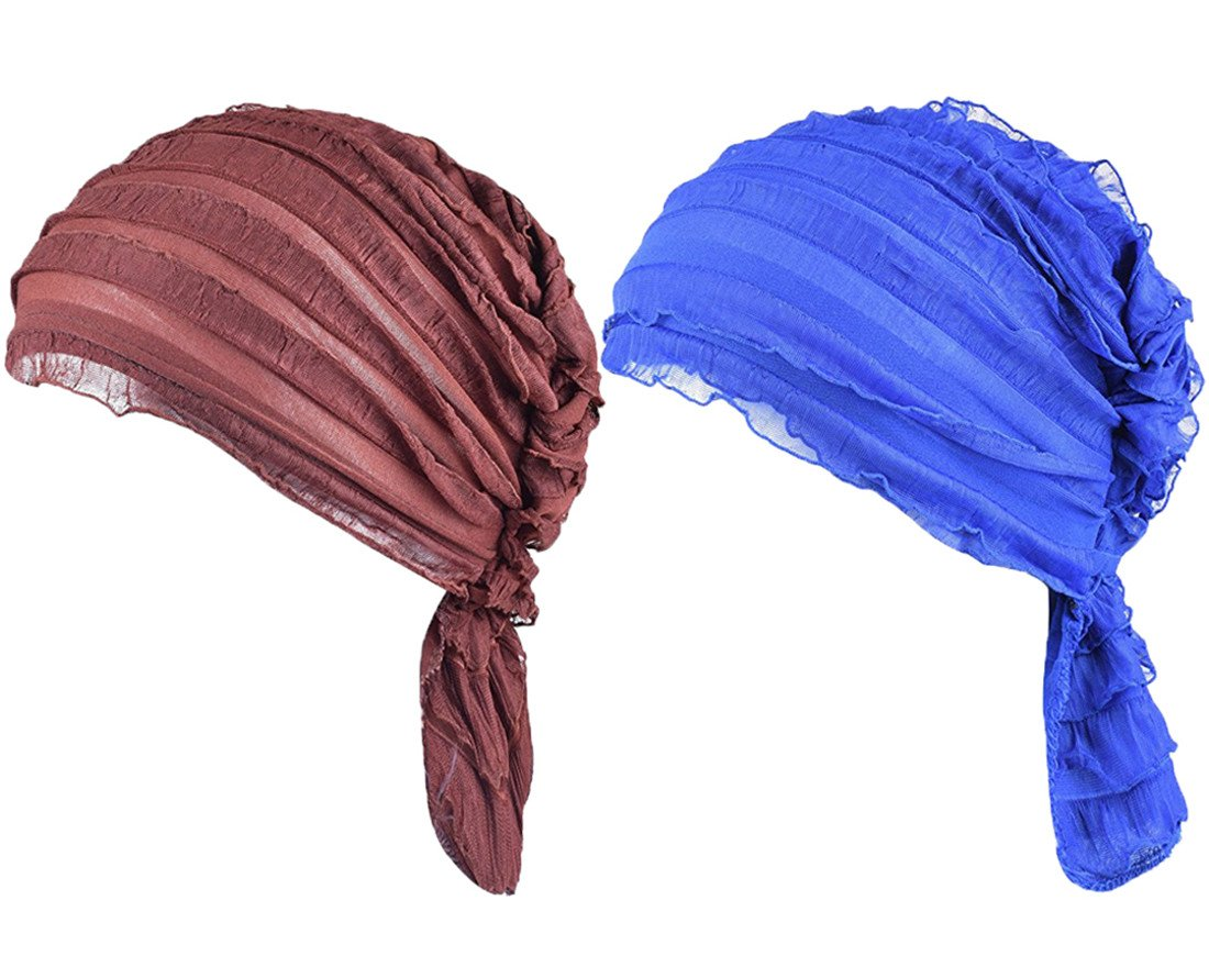 Staringirl Women 2 Pack Ruffle Chemo Hat Beanie Head Scarf Hair Coverings Cancer Caps HATVRE01