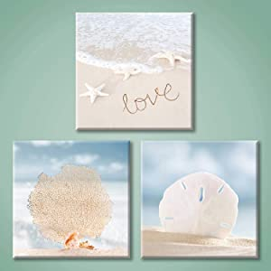 Coastal Pictures Canvas Wall Art: Starfish and Seashell Painting Print Beach Artwork for Bathroom (12'' x 12'' x 3 Panels)