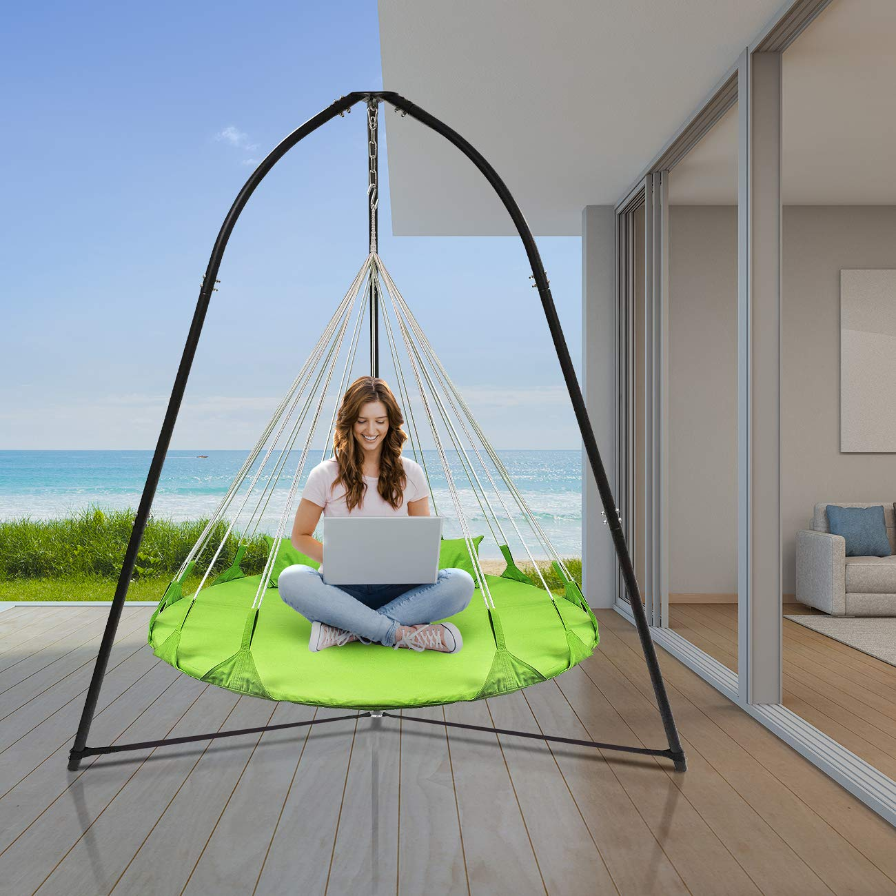 Sorbus Tripod Hanging Chair Stand Frame for Hanging Chairs, Swings, Saucers, Loungers, Cocoon Chairs, Great for Indoor Outdoor Use, Patio, Lawn, Deck, Yard, Garden