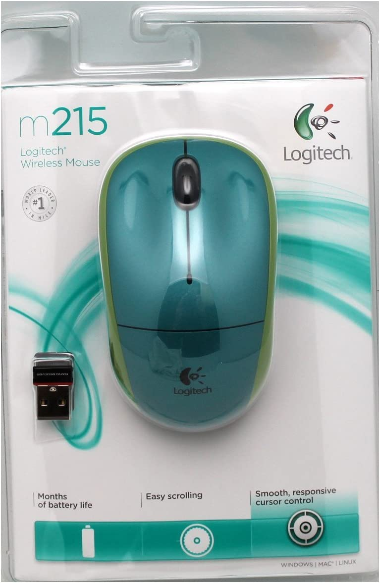 Green//Lime Plug/&Play Logitech m215 USB Wireless Optical Mouse with Nano Receiver