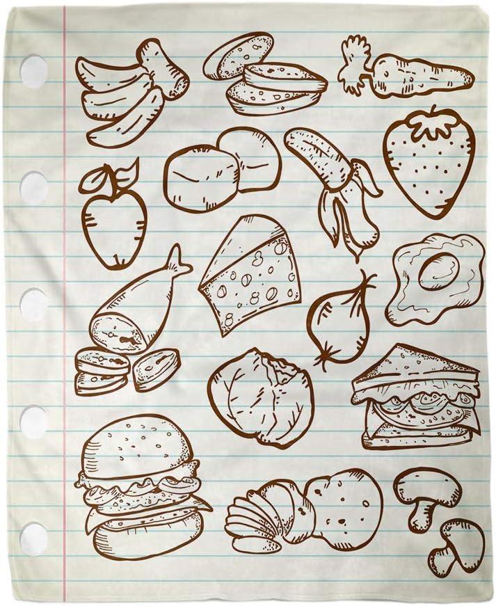 utong Decoración Suave Manta de Hamburguesa Hamburguesa Comida Sana Sandwich Doodle Sketch Fresa Vintage Fruta Cálida y acogedora Mantas de Cama para el hogar Sofá Sofá Silla Sala de Estar Dormitorio