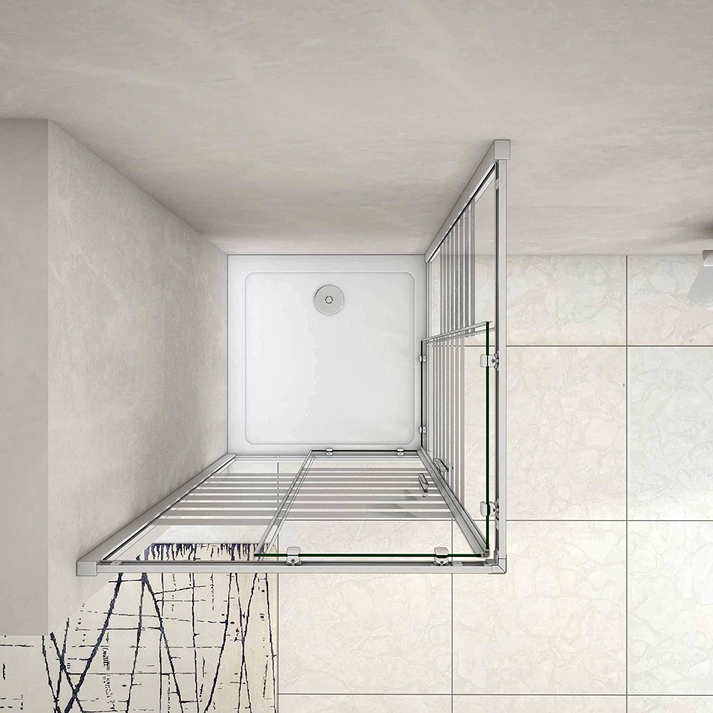70x70x195cm Mamparas Cabina de ducha con Puerta corredera de 8 ruedas vidrio templado 5MM