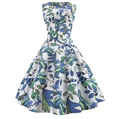 Sleeveless A line Dress for Women Printing Party Prom Swing Dresses O Neck Evening Vintage with