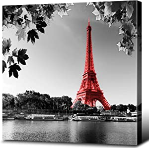 Eiffel Tower Wall Art Paris Wall Decor France Canvas Prints Black and White Red Beautiful Lake Water Landscape Giclee Print Gallery Wrap Modern Home Office Decoration Stretched Ready to Hang (12x12)