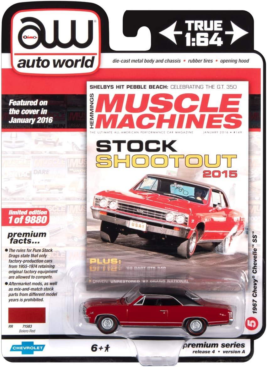 Auto World Hemmings Muscle Machines - 1967 Chevelle SS Bolero Red w/Flat Black Vinyl Roof1:64 Scale Die-Cast Model Car