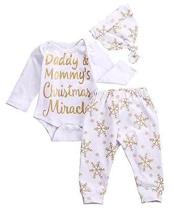 b1c78b9e3 Amazon.com  Baby Girls Christmas Snowflake Bodysuits with Leggings ...