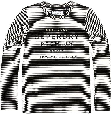 Superdry Dunne Stripe LS Graphic Top Camisa Manga Larga para Mujer