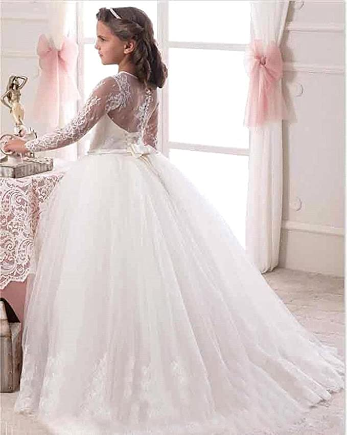 Amazon.com: GZY Long Sleeves Lace Flower Girls Dresses Communion Gowns GZY33: Clothing