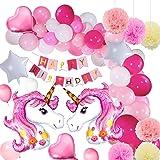 Yansion Einhorn Party Supplies Dekorationen mit Einhorn Ballons, Glücklich Geburtstag Banner für Mädchen Boy Kids