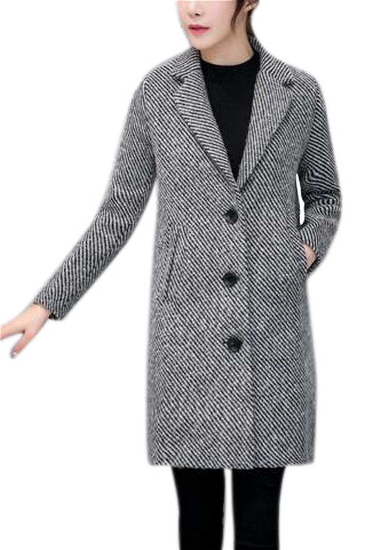 Women's Slim Stripe Lapel Single Breasted Woolen Trench Coat Jacket Outerwear