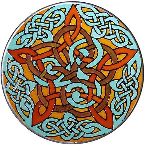 Jen Delyth Celtic Pentacle Knot 10 Hand Painted Art Glass Suncatcher