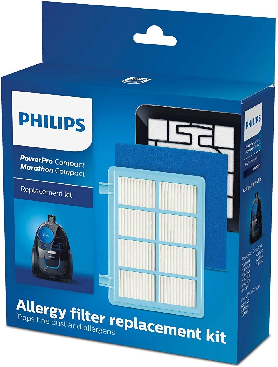 Philips Kit de repuestos FC8010/01 - Accesorio para aspiradora (Aspiradora cilíndrica, Filtro, Azul, Blanco, PowerPro Compact: FC9330 - FC9334, FC9350 - FC9353, 3 pieza(s)): Amazon.es: Hogar
