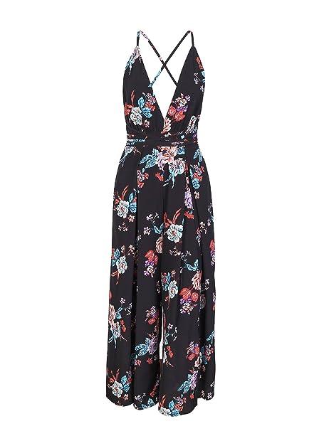 9050010f7af9c BerryGo Women s Sexy Backless Deep V Neck Lace Up Split Wide Leg Jumpsuit  Black Print