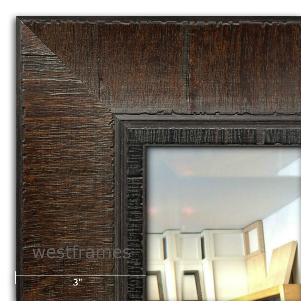 West Frames The Lodge Distressed Rectangular Framed Wall Mounted Mirror (21'' x 25'', Dark Walnut)