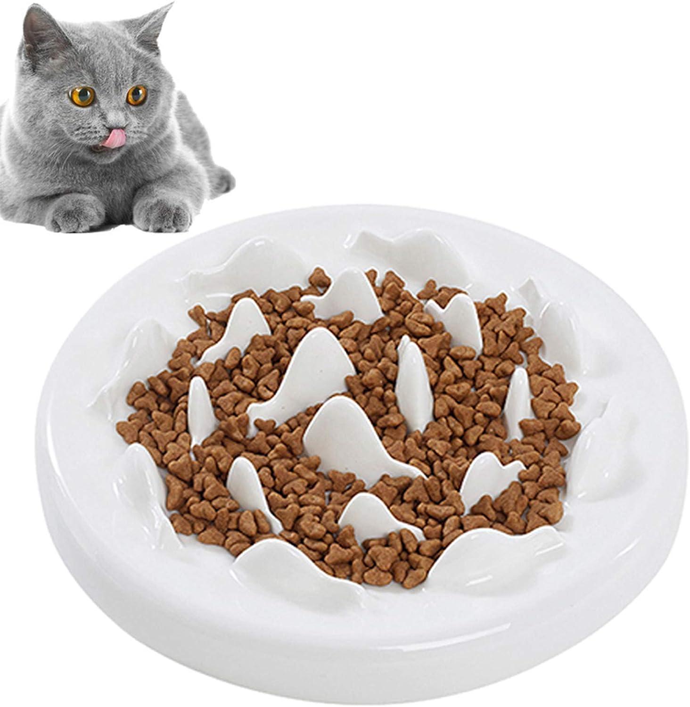 kathson Cat Slow Feeder Bowl, Ceramic Slow Eating Bowl Fun Interactive Feeder Prevent Feeder Anti Gulping Healthy Diet Pet Bowls Against Bloat Indigestion Obesity