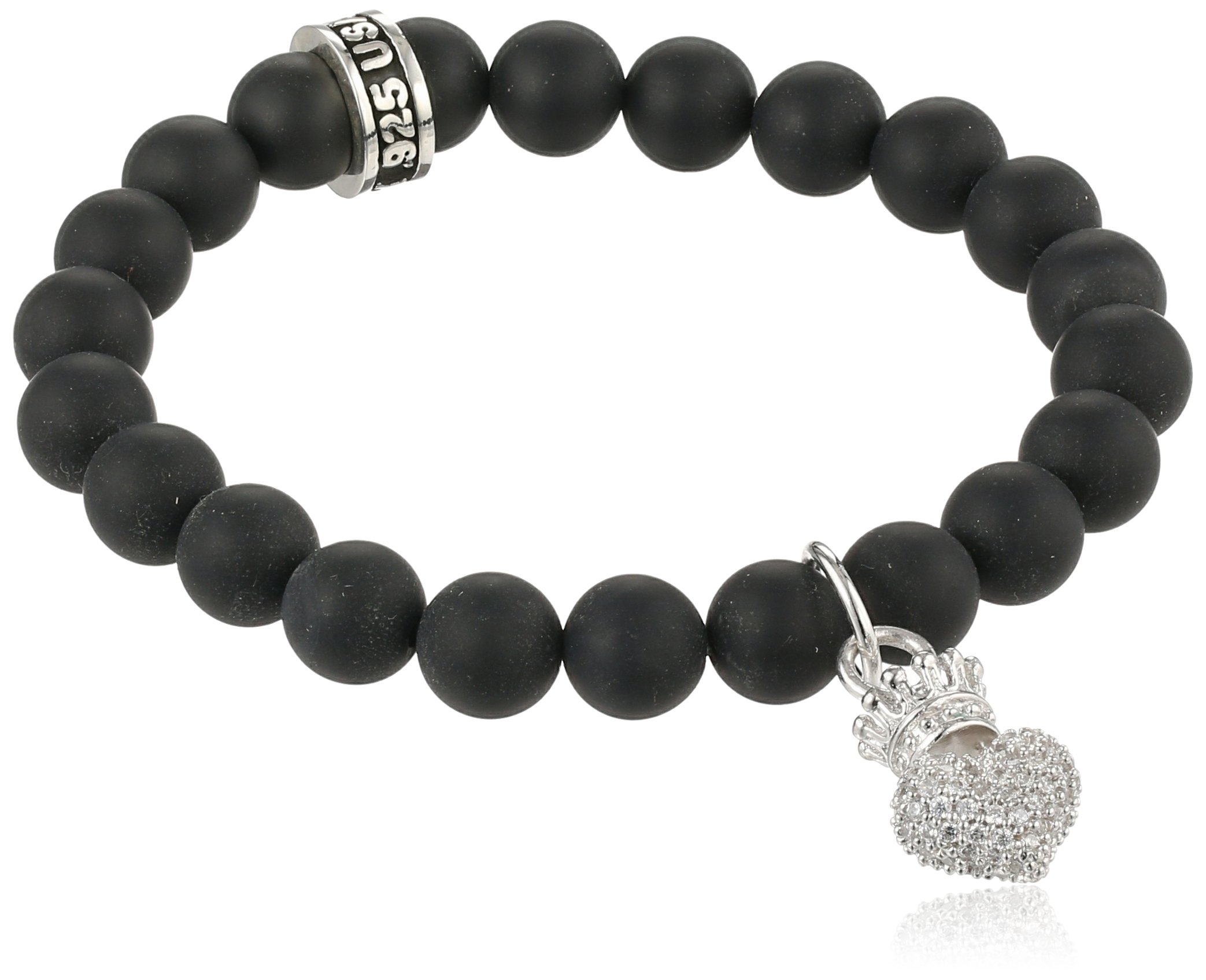King Baby ''Crowned Heart'' Onyx Bead Bracelet with Pave Cubic Zirconia Baby Crowned Heart