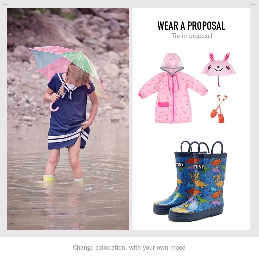 Fantiny Girls Rain Boots Durable Rubber Waterproof Shoes with Easy on Handles for Kid Toddler Boys,VHYX01,D.Blue,34