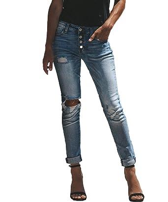 b40268e62615 Glosun Women s Distressed Mid Rise Skinny Jeans Black Slim High Waist  Stretch Ripped Denim Pants (