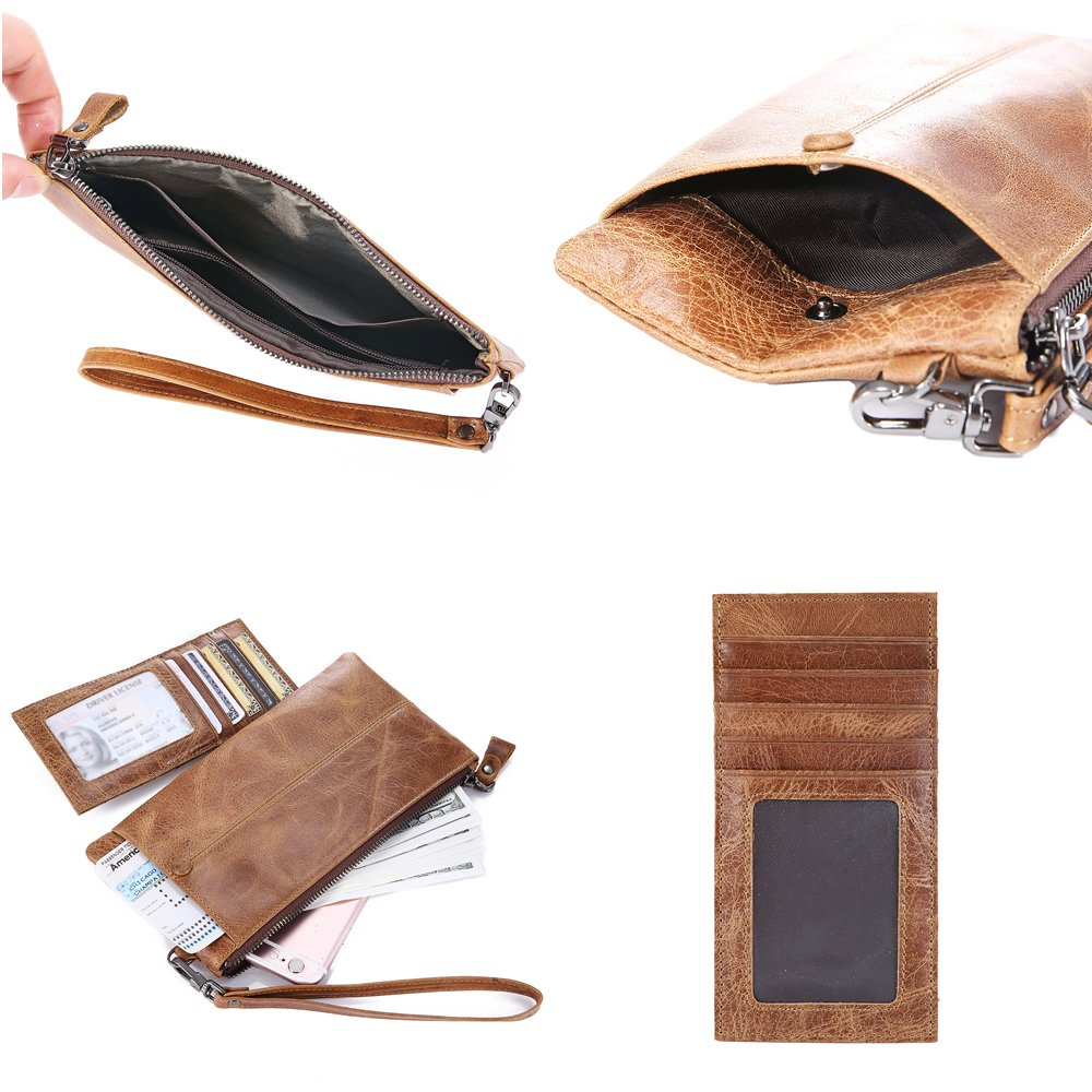 IVESIGN Zipper Wallet RFID Blocking Credit Card Holder Genuine Leather With Wristlet by IVESIGN (Image #3)
