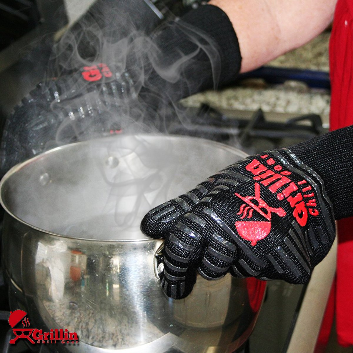 Grillin Chill Gear Meat Claws - Best Bear Claw Pulled Pork Meat Shredders in BBQ Grill Accessories +Extreme Heat Resistant Grill Gloves, Heavy Duty Aramid Fiber & Non Slip Silicone, Soft Cotton Liner by Grillin Chill Gear (Image #4)