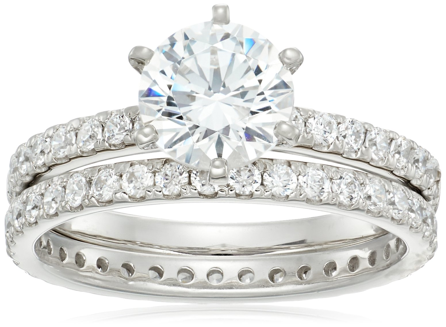 Platinum-Plated Sterling Silver Round Ring Set made with Swarovski Zirconia (1 Carat Center Stone), Size 7 by Amazon Collection