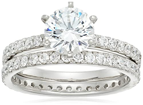 160be9ce22e62 Platinum or Gold Plated Sterling Silver Round Ring Set made with Swarovski  Zirconia