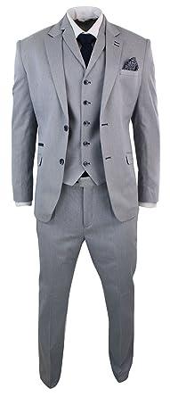 Mens Light Blue Grey Navy Elbow Patch 3 Piece Formal Smart Suit