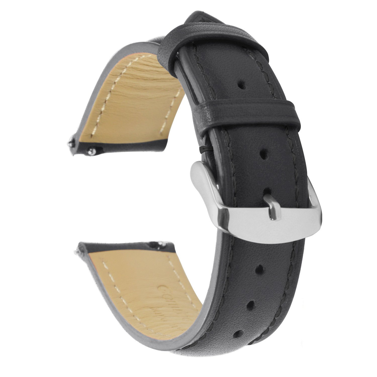 Quick Release Watch Band 18mm, Leather Black Replacement Watch Strap Genuine Polished Watch Clasp Buckle Padded Super Soft (18mm 20mm 22mm)