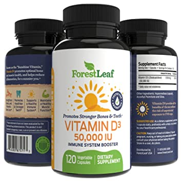 Vitamin D3 50,000 IU Weekly Supplement - 120 Vegetable Capsules - Helps  Boost and Strengthen