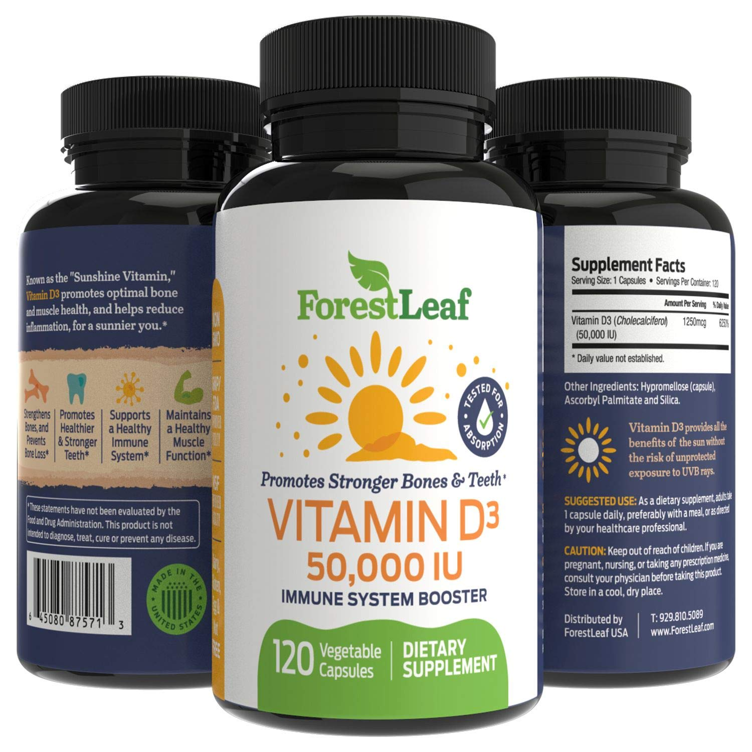 Vitamin D3 50,000 IU Weekly Supplement - 120 Vegetable Capsules - Helps Boost and Strengthen Bones, Teeth, Immune System and Muscle Function - by ForestLeaf