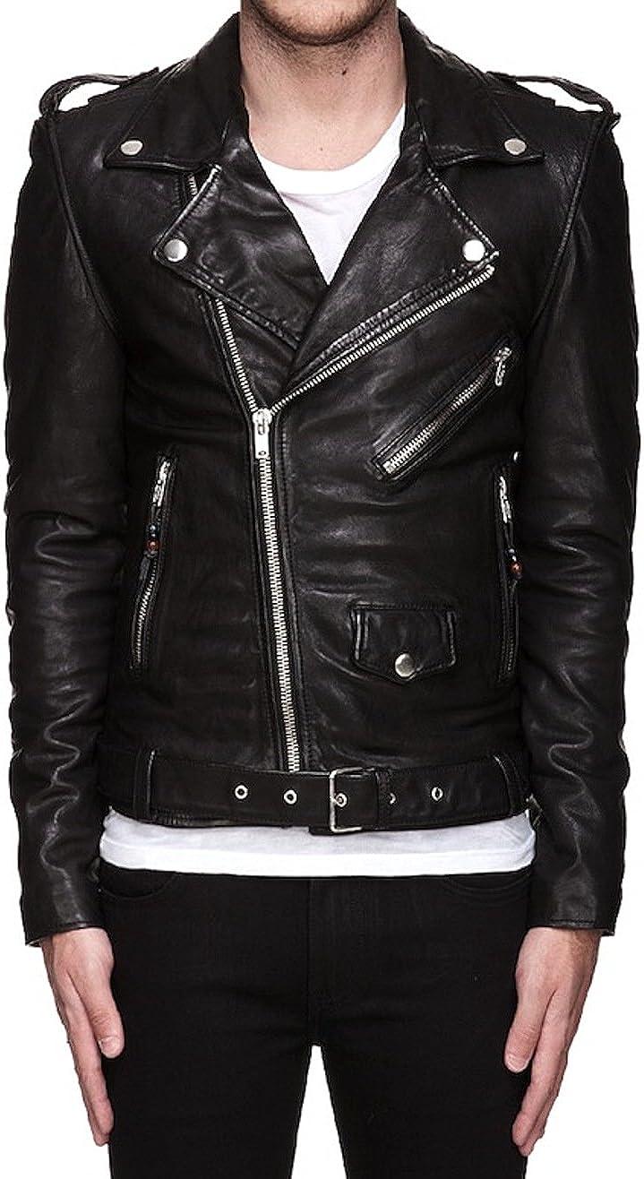 Leather N Leather Genuine Lambskin Leather Moto Biker Belt Jacket
