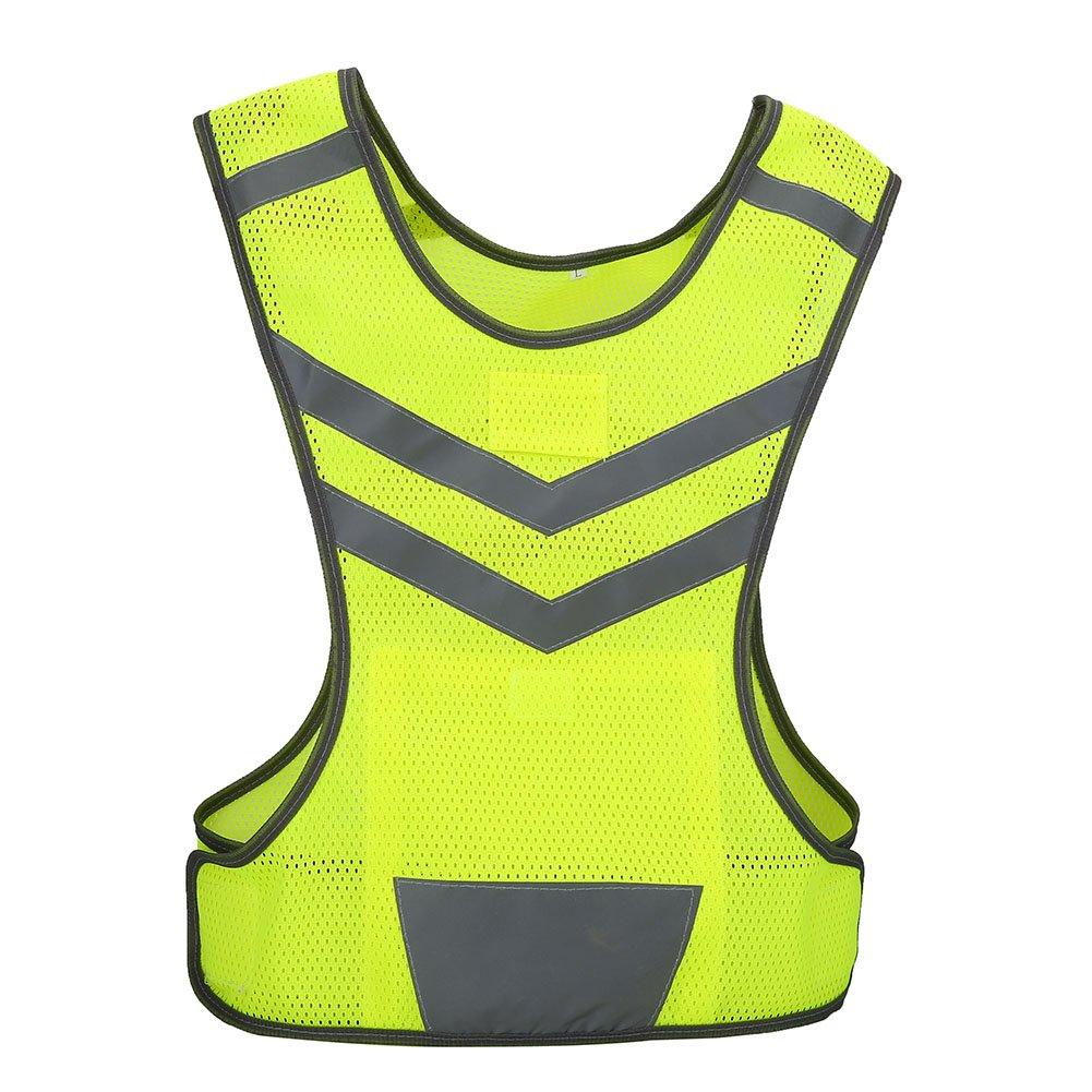 Giubbotto di sicurezza regolabile ad alta visibilità con gilet riflettente per corsa in bicicletta per sport all'aria aperta VGEBY