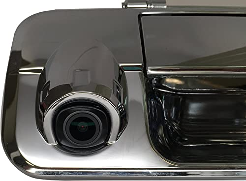 PYvideo Backup Camera with Tailgate Handle for Toyota Tundra 2007-2013 for Universal Monitors RCA Color Chrome