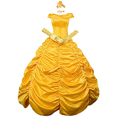 Womens Floor Length Princess Belle Costume Layered Lace up Ball Gown Prom Long Dresses Gloves