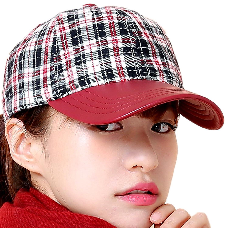 Women's Winter PU Leather Brim Plain Woolen Plaid Peaked Baseball Buckle Hat Cap