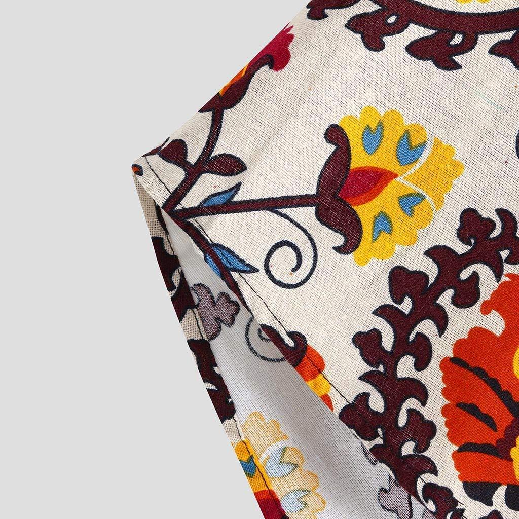 Mens Long Sleeve Shirts Elegant Floral Print Shirt Casual Standing Collar Button Tops