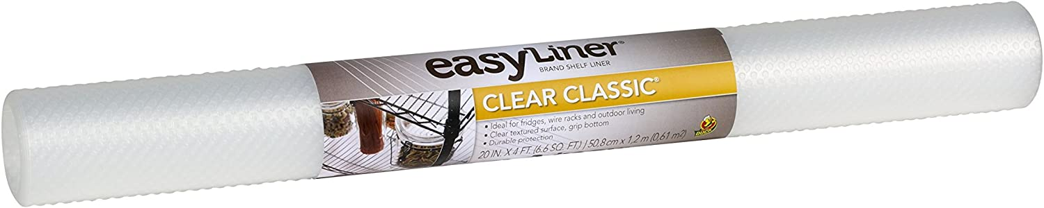 Duck Brand Clear Classic Easy 280299 Non-Adhesive Shelf Liner, 20 in x 4 ft Roll