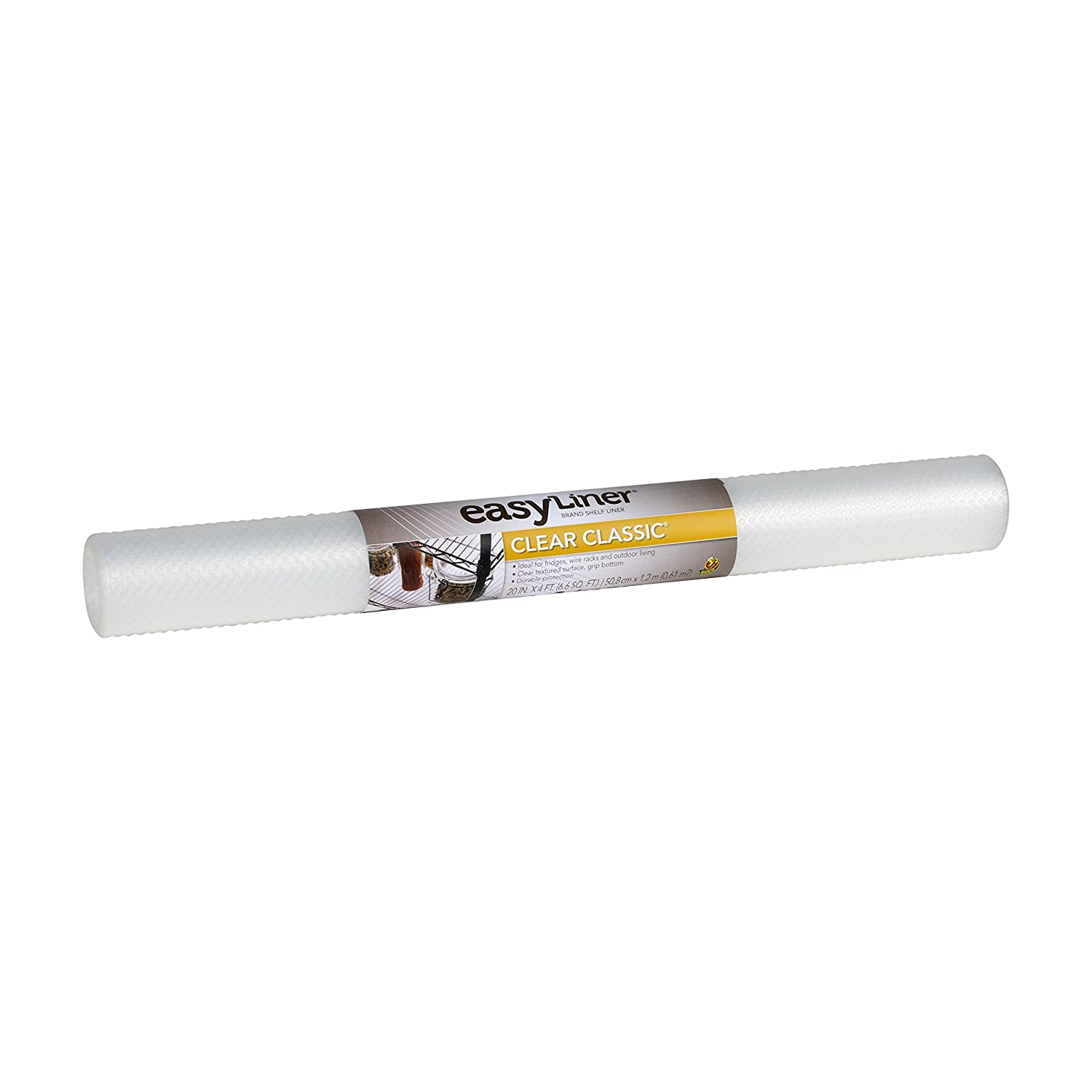 Clear Duck Brand Clear Classic Easy Liner Shelf Liner 280299 20 Inches x 4 Feet Non Adhesive