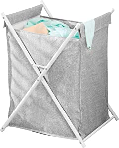 mDesign Sturdy Cloth Single Laundry Hamper Bag - Portable and Collapsible Folding Clothes Basket Storage, Polyester Bag with Protective Coating Lined Fabric - Strong Metal X Frame - Gray/White