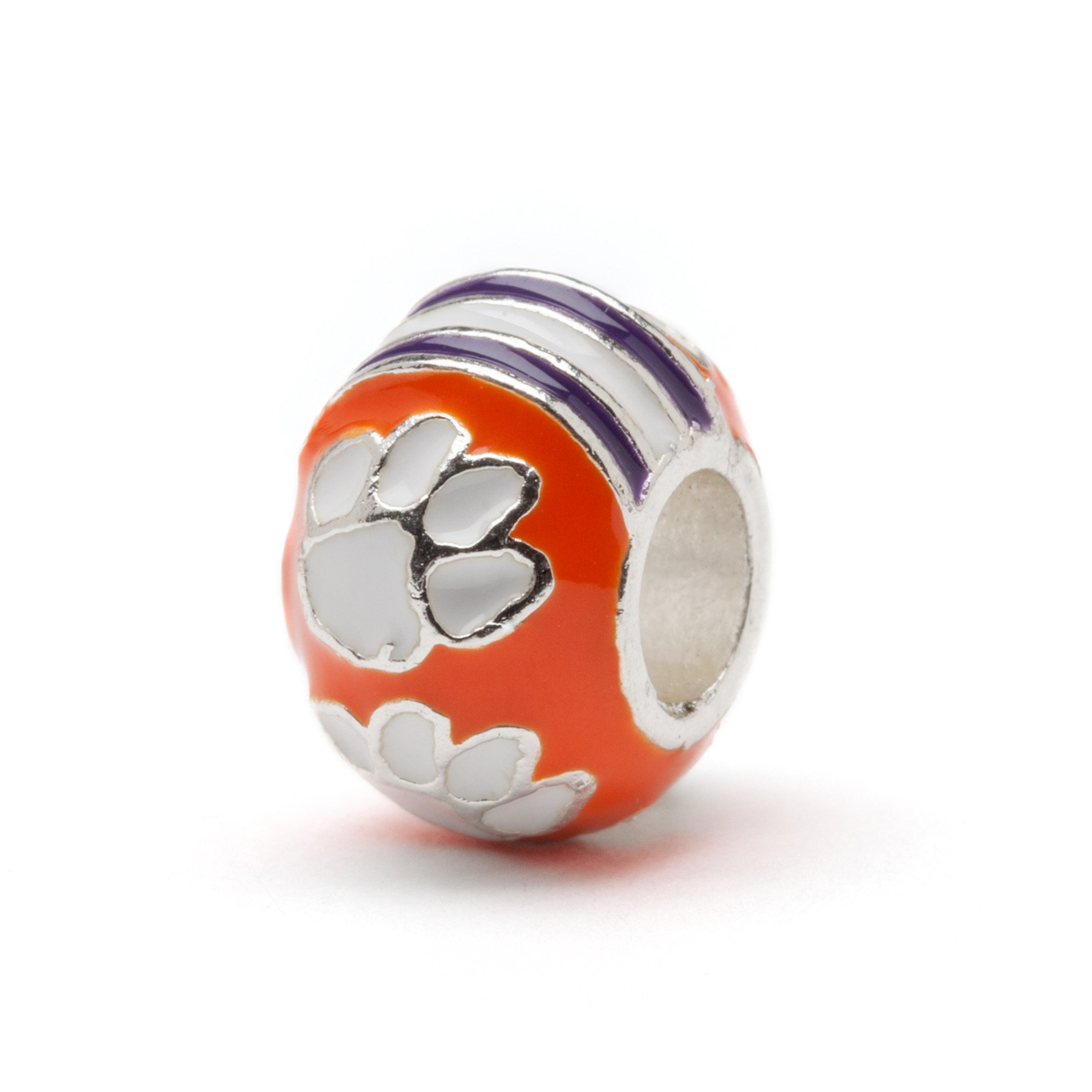 Clemson University Bead Charm | Clemson Orange Charm | Clemson Jewelry | Stainless Steel Clemson Gifts | Fits Most Popular Bead Charms