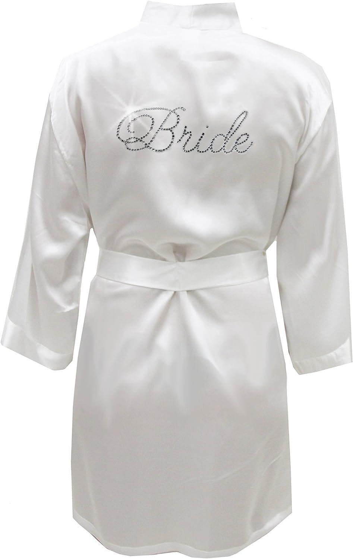 Details about  /Wedding Day Rhinestone Satin HERE COMES THE BRIDE Bathrobe Kimono Dressing gown