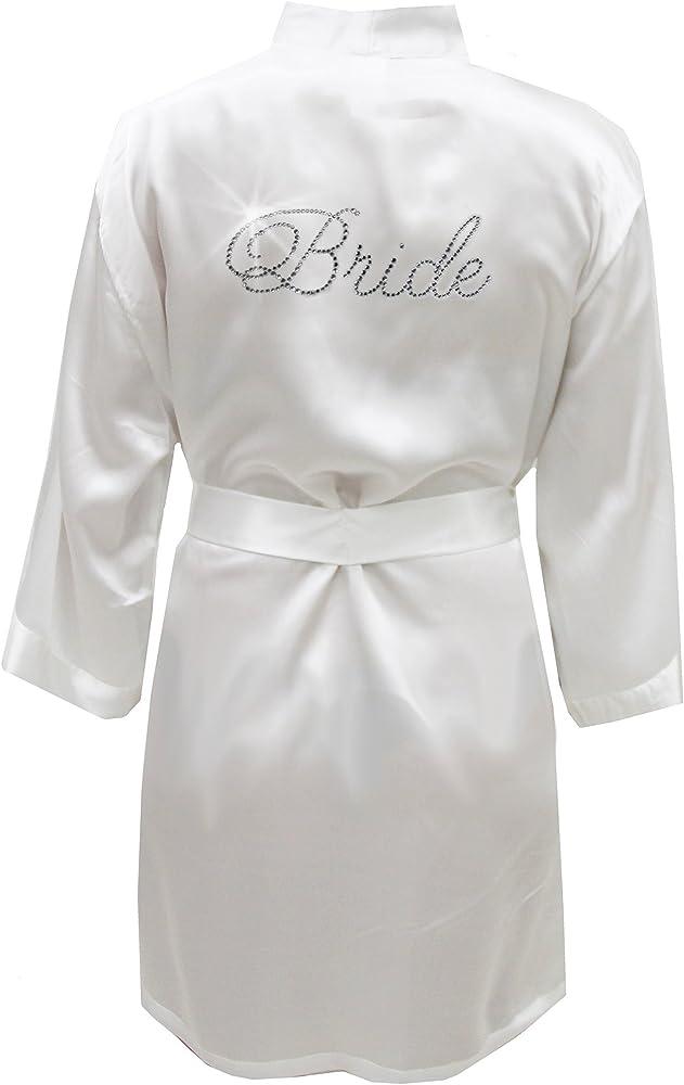 Satin Bride Robe With Rhinestones Bridal White S M 2 10 At Amazon Women S Clothing Store
