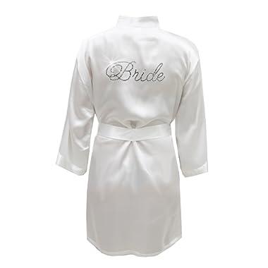 Satin Bride Robe with Rhinestones - Bridal White